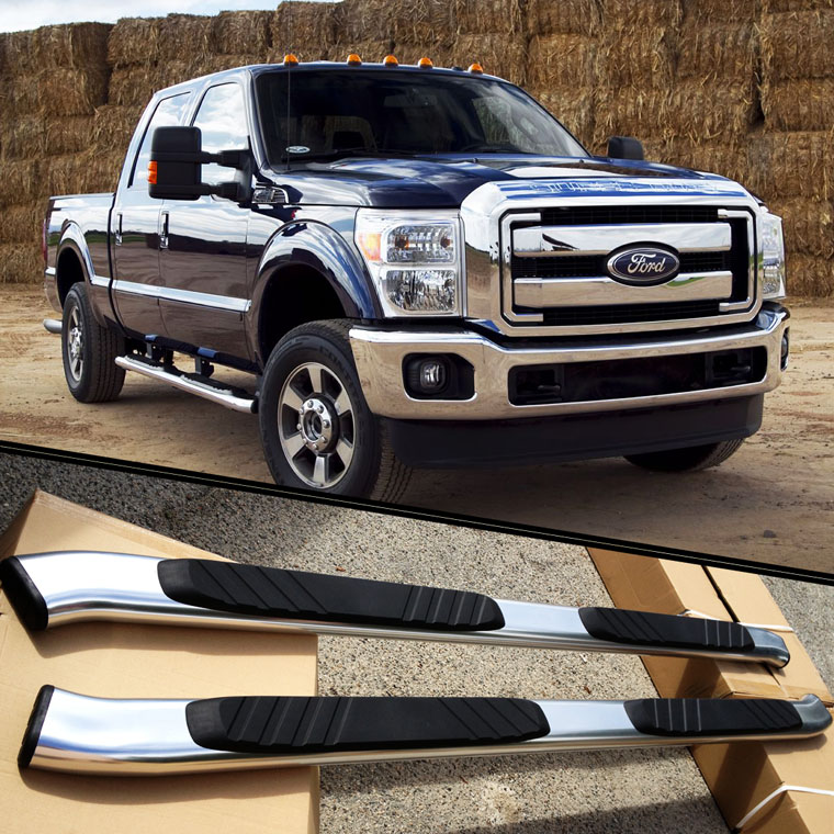 For 99 16 Ford F250 Crew Cab Aluminum Nerf Bars Side Step