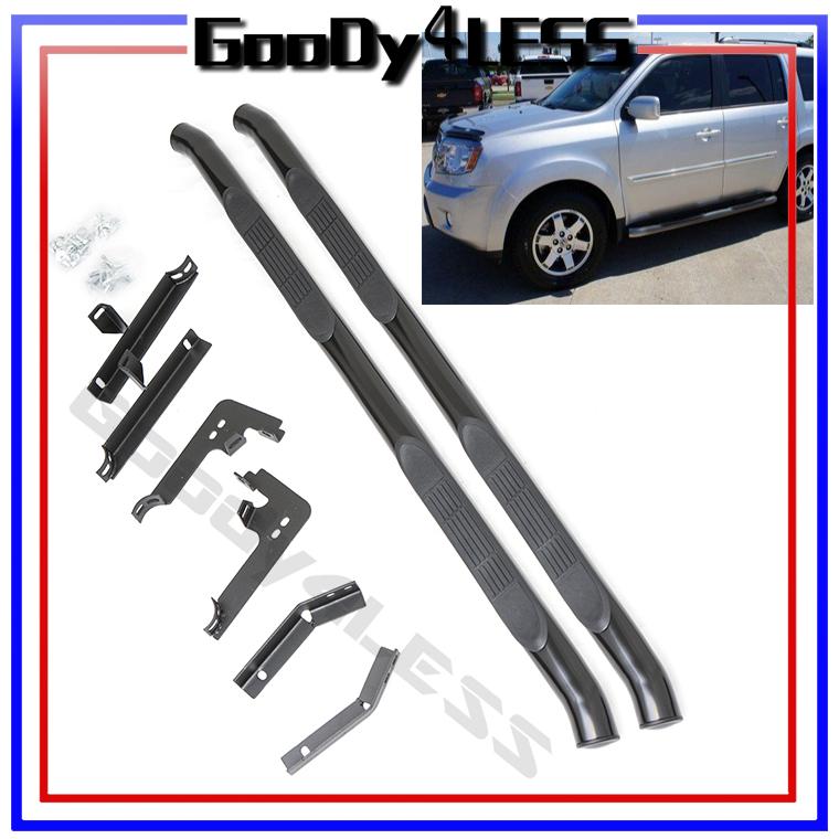 "09-14 Honda Pilot SUV Running Boards 3"" Round Nerf Bars Side Step Set Black | eBay"